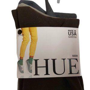 3pk Hue Sleek Socks; banded cuff mid-calf crew